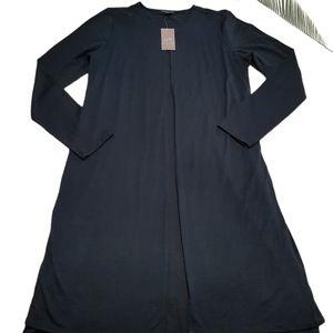 J. Jill Black Long Sleeve Pleated Front Dress S